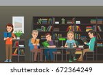 people reading textbooks in... | Shutterstock .eps vector #672364249