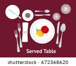 cartoon table setting place... | Shutterstock .eps vector #672368620