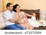 happy family with children... | Shutterstock . vector #672375304