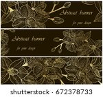 set backgrounds with gold... | Shutterstock .eps vector #672378733
