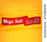 red  paper banner for mega sale.... | Shutterstock .eps vector #672380650