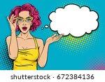 wow pop art female face. sexy... | Shutterstock .eps vector #672384136