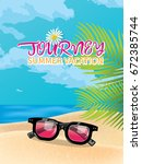summer holiday vacation concept ... | Shutterstock .eps vector #672385744