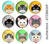 collection of cute cat  face... | Shutterstock .eps vector #672386269
