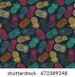 vector seamless pattern with... | Shutterstock .eps vector #672389248