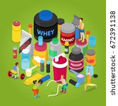 isometric sports nutrition... | Shutterstock .eps vector #672391138