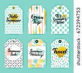 summer time trendy gift labels. ... | Shutterstock .eps vector #672394753