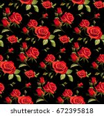 Stock vector seamless floral pattern with red roses on a black background 672395818
