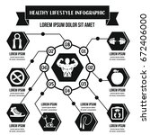 healthy lifestyle infographic... | Shutterstock .eps vector #672406000