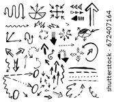 hand drawn doodle vector arrows ... | Shutterstock . vector #672407164