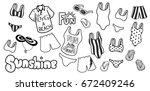 hand drawn beach wear | Shutterstock .eps vector #672409246