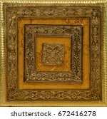 Small photo of Indian / Arabesque Metal Background - Golden