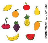 set of fruits and berries ... | Shutterstock .eps vector #672424330
