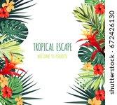 floral square postcard design... | Shutterstock .eps vector #672426130