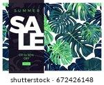 summer vector tropical sale... | Shutterstock .eps vector #672426148