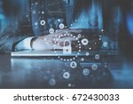 cyber security internet and... | Shutterstock . vector #672430033