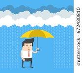 happy businessman standing with ... | Shutterstock .eps vector #672430810