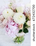bouquet with pink peonies ... | Shutterstock . vector #672432700