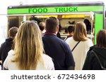 people  queue  in  line up   ... | Shutterstock . vector #672434698