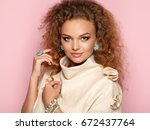beauty woman with long and... | Shutterstock . vector #672437764