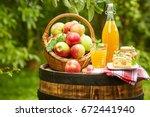 basket of apples on background...