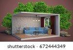 interior living room. 3d... | Shutterstock . vector #672444349