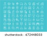 set of line icons  sign and... | Shutterstock . vector #672448033