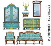 set of vintage upholstered sofa ... | Shutterstock .eps vector #672451336
