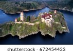 aerial view on czech medieval... | Shutterstock . vector #672454423