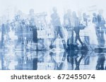 business people double exposure ... | Shutterstock . vector #672455074