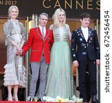 Small photo of CANNES - MAY 21, 2017: (L-R) Nicole Kidman, John Cameron Mitchell, Elle Fanning and Alex Sharp depart after the How To Talk To Girls At Parties screening during the 70th annual Cannes Film Festival