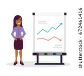 business woman with graph  flat | Shutterstock .eps vector #672461416