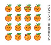 cute orange emoticons | Shutterstock .eps vector #672461473