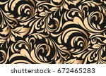 seamless luxury pattern with... | Shutterstock .eps vector #672465283