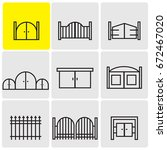 gates icons | Shutterstock .eps vector #672467020
