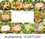 set with different salads on... | Shutterstock . vector #672471124
