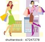shopping girls | Shutterstock .eps vector #67247278