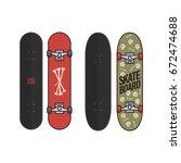 set of skateboards with skulls... | Shutterstock .eps vector #672474688