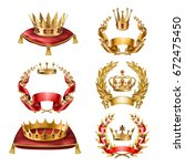 set of icons of royal golden... | Shutterstock . vector #672475450