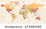 world map vintage vector. high... | Shutterstock .eps vector #672483283
