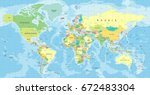 world map vector. high detailed ... | Shutterstock .eps vector #672483304