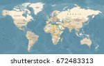 world map vector. high detailed ... | Shutterstock .eps vector #672483313