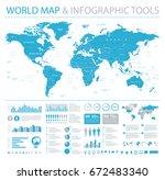 world map vector info graphics. ... | Shutterstock .eps vector #672483340