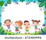 summer poster kids child baby... | Shutterstock .eps vector #672484996
