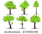 set of trees on white... | Shutterstock .eps vector #672490198