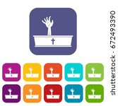 zombie hand coming out of his... | Shutterstock .eps vector #672493390