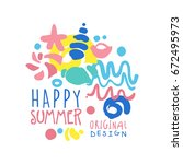 happy summer logo template... | Shutterstock .eps vector #672495973