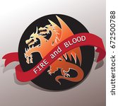 three headed dragon and a tape... | Shutterstock .eps vector #672500788