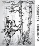 forest inhabitants | Shutterstock .eps vector #672505030