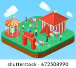 isometric flat 3d isolated... | Shutterstock .eps vector #672508990